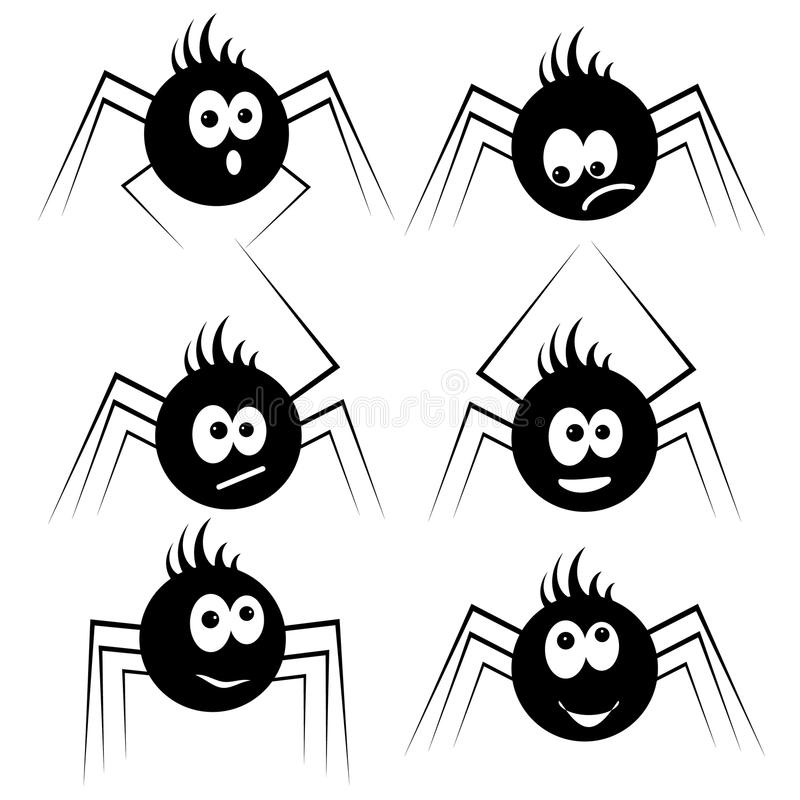 Vastgestelde zwarte silhouetspinnen stock foto