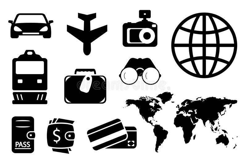 Vastgestelde zwarte voorwerpen voor het bedrijfs reizen stock illustratie