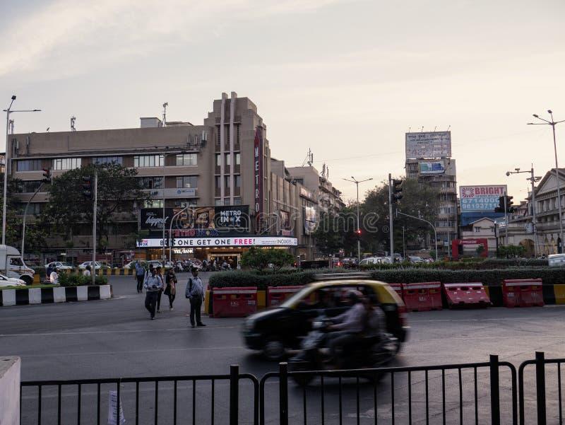 Vasudev Balwant Phadke Chowk opp aan metro Bioskoop, Dhobitalao Azad Maidan, Marine Lines stock foto's