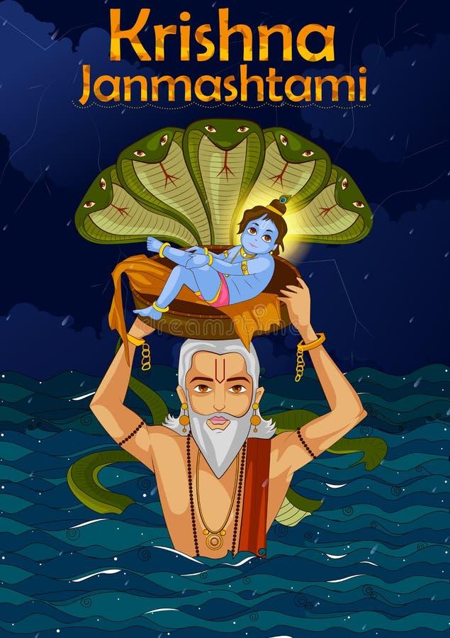 Vasudev que leva pouco Krishna com Kaliya Naag em Janmashtami ilustração do vetor
