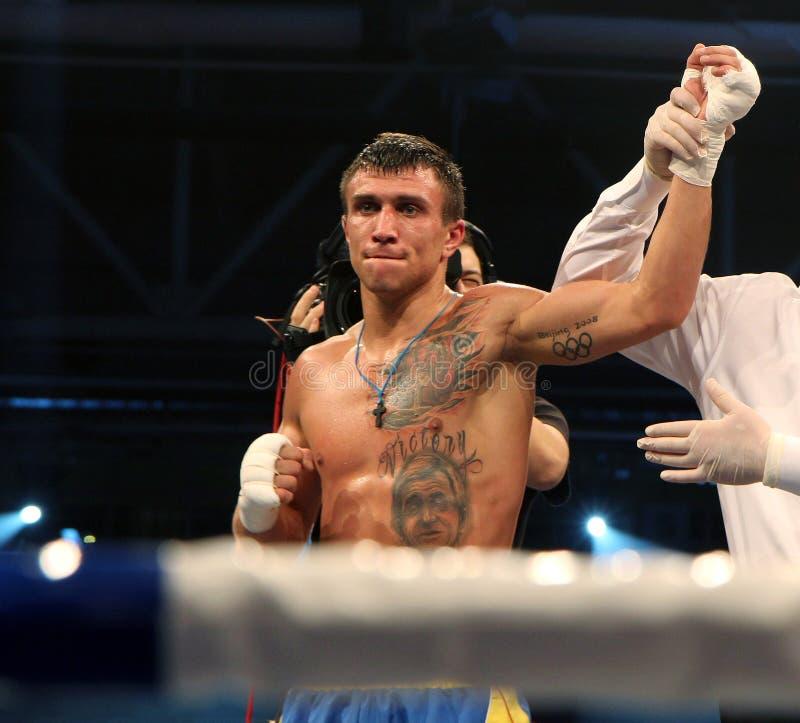 Vasyl Lomachenko乌克兰专业拳击手 库存照片