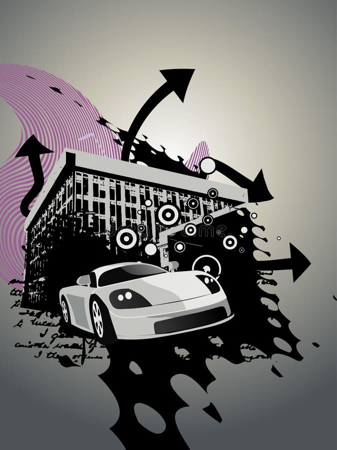 Vat de bouwontwerp met auto samen vector illustratie