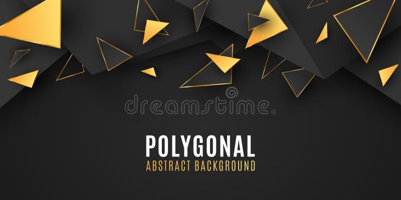 Vat geometrische vormen samen Modieuze achtergrond voor uw ontwerp Lage polystijl Chaotische vormen Abstracte zwarte en gouden dr vector illustratie