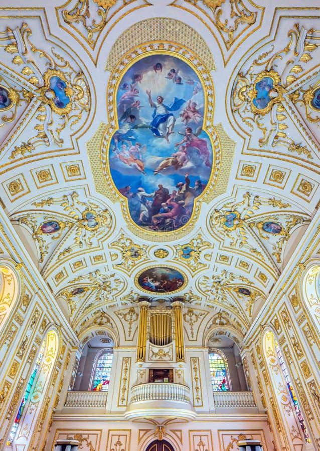 Vat-gewelfd plafond in St Michael en Al Engelenkerk, Worcestershire, Engeland royalty-vrije stock foto's