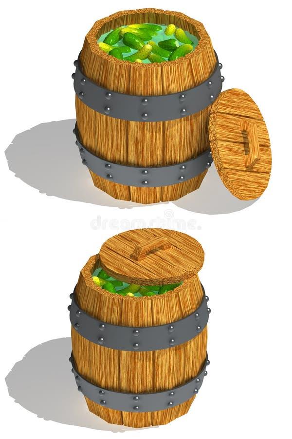 Vat komkommers vector illustratie
