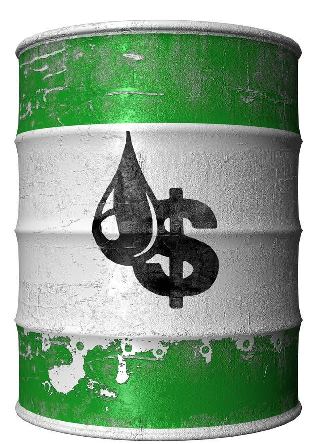 Vat met een symbool van dollar en olie