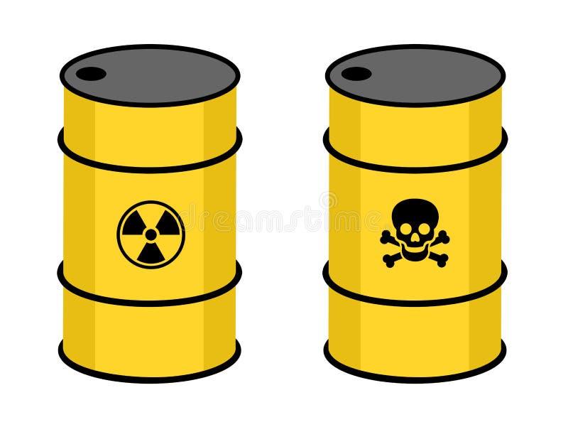 Vat met radioactieve en giftige substantie royalty-vrije illustratie