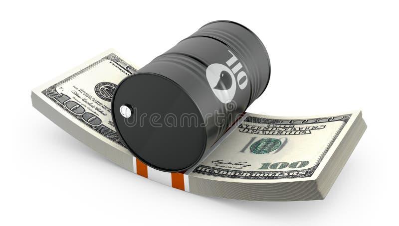 Vat olie op een pak dollars vector illustratie