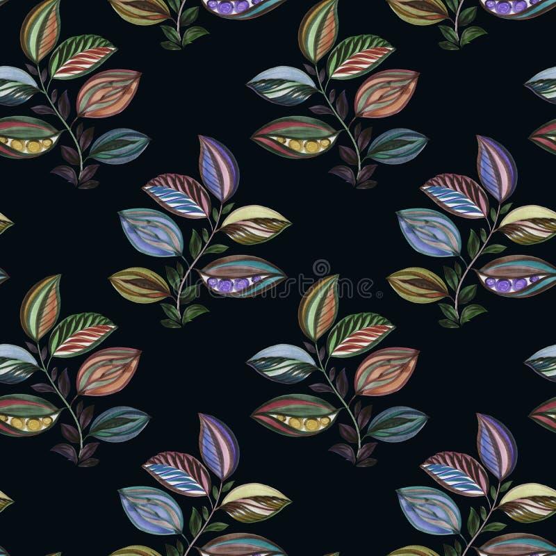 Vat ornament samen Kleurrijke illustratie Waterverftekening van bladeren van verschillende kleuren Bladeren en takken voor ontwer royalty-vrije illustratie