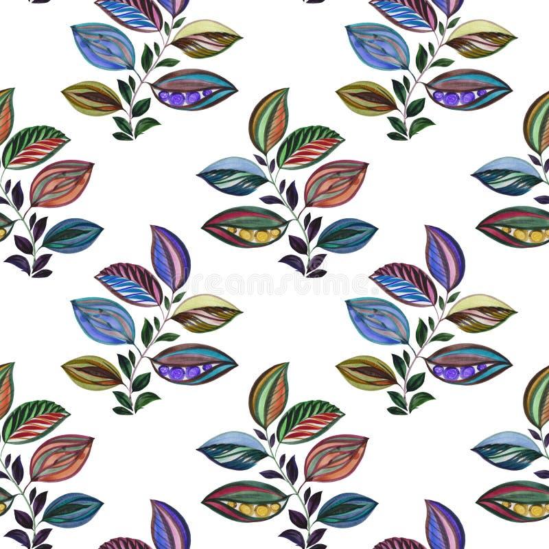 Vat ornament samen Kleurrijke illustratie Waterverftekening van bladeren van verschillende kleuren Bladeren en takken voor ontwer vector illustratie