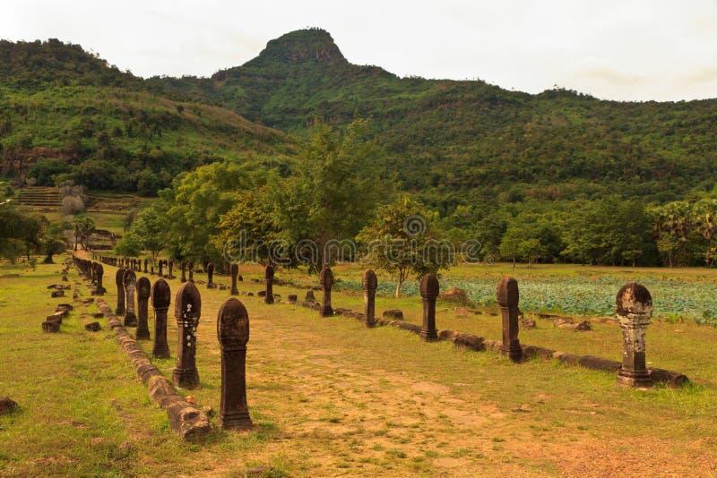 Vat Phou of Wat Phu in Champasak, Zuidelijk Laos royalty-vrije stock afbeelding