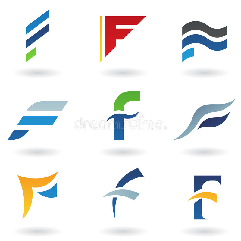 Vat pictogrammen voor brief F samen vector illustratie