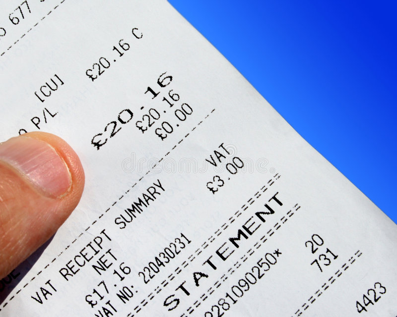 VAT receipt stock image