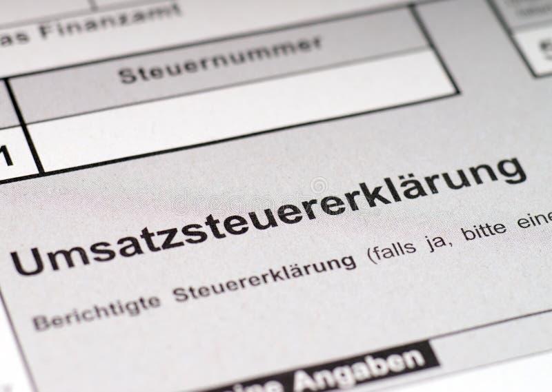 VAT return. German VAT return form for tax return royalty free stock photography