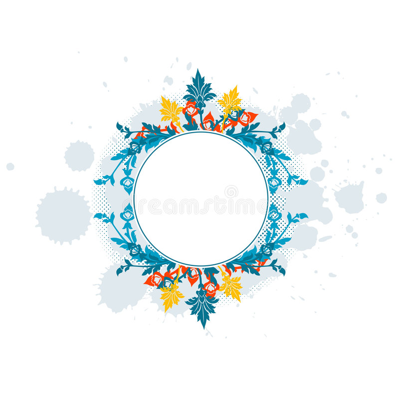 Vat samenstelling van borstelvlekken en bloemen samen royalty-vrije illustratie