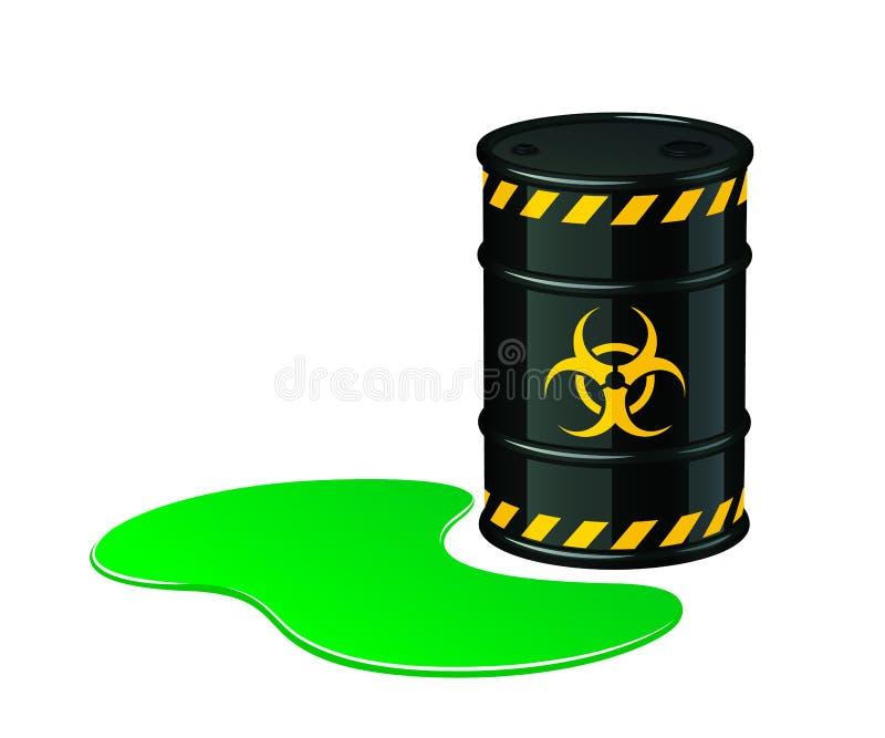 Vat van biohazardafval De vectorillustratie van het Biohazardafval stock illustratie