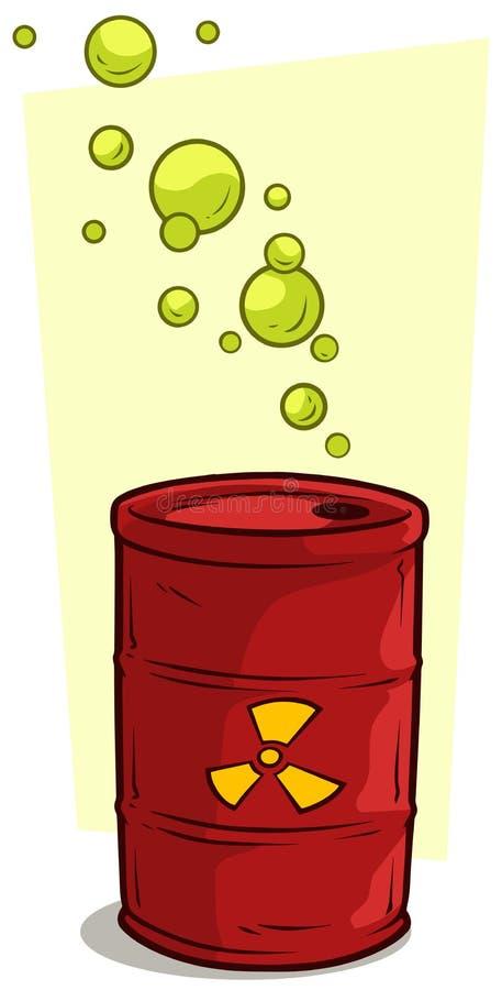 Vat van het beeldverhaal het rode metaal met stralingsteken stock illustratie