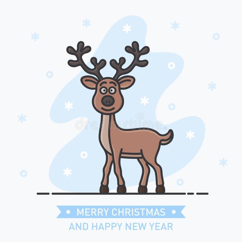 Vat weinig leuk het glimlachen hert op Nieuwjaarachtergrond samen vector illustratie