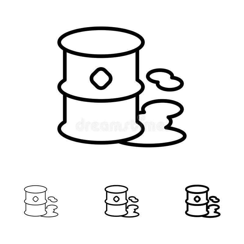 Vaten, Milieu, Huisvuil, het pictogramreeks van de Verontreinigings Gewaagde en dunne zwarte lijn stock illustratie
