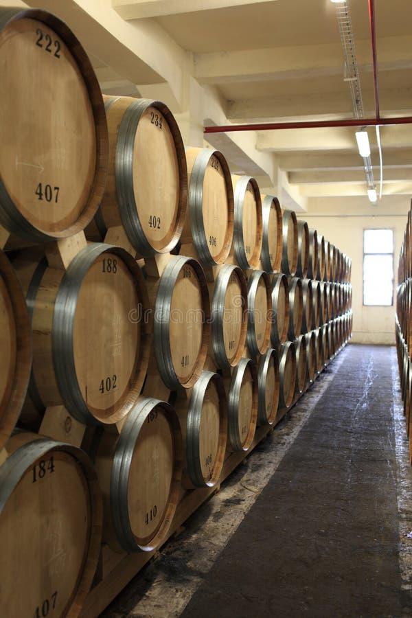 Vaten in wijnmakerij royalty-vrije stock foto's