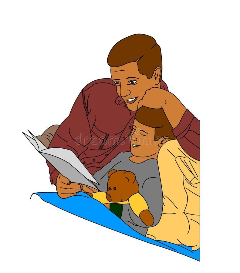 Vater, der eine Geschichte liest stock abbildung