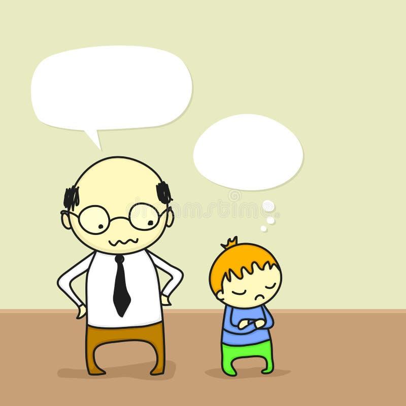 Vater, der mit seinem Kind argumentiert lizenzfreie abbildung
