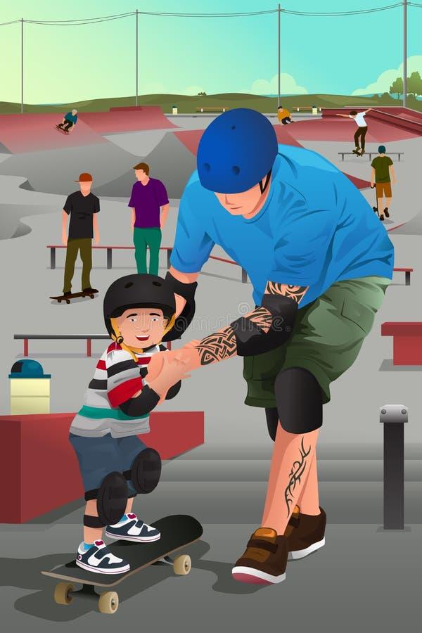 Vater, der sein Sohnskateboard fahren unterrichtet stock abbildung