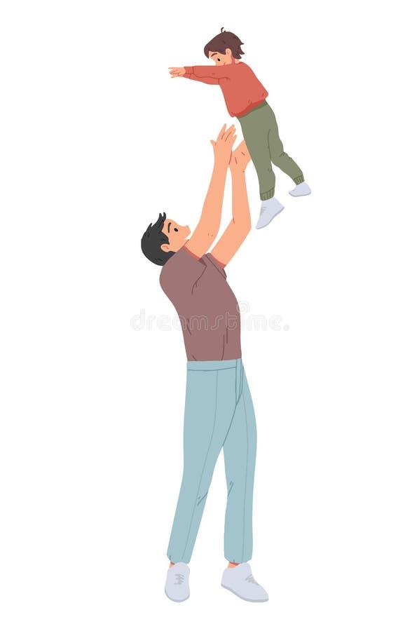 Vater, der seinen Sohn wirft Mann wirft wenig Jungen oben und ihn fangend Elternteil, das mit Kind spielt stock abbildung