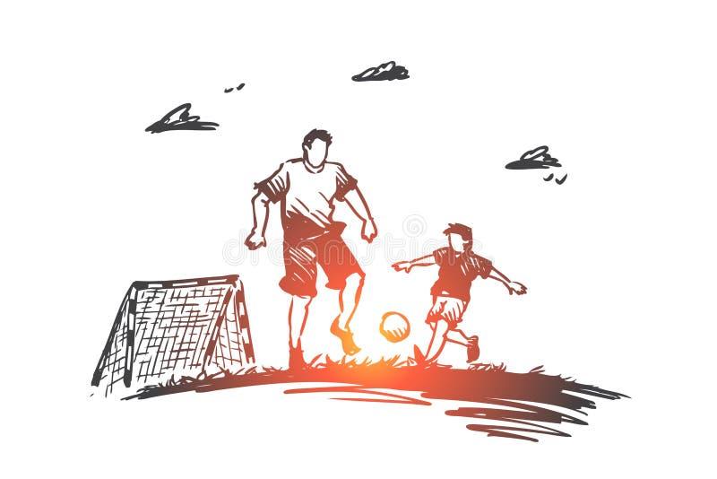 Vater, Fußball, Sohn, Spiel, Elternteilkonzept Hand gezeichneter lokalisierter Vektor vektor abbildung