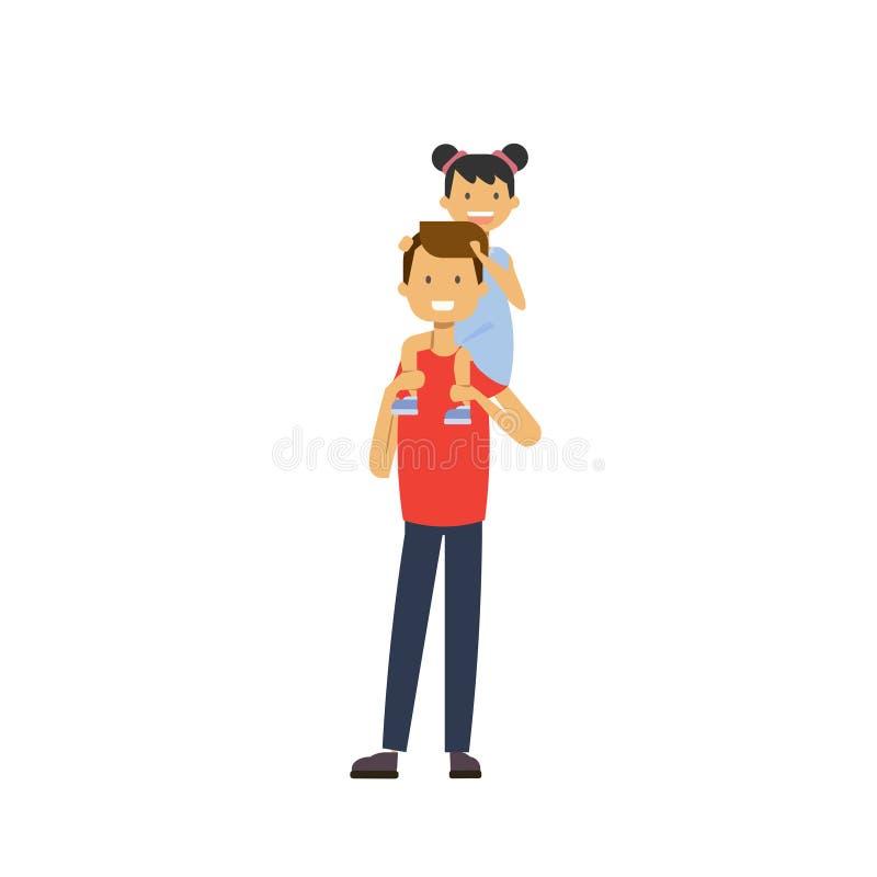 Vater hält seine Tochter auf Rückseite über weißem Hintergrund, glückliches Familienkonzept, flacher Karikaturentwurf stock abbildung