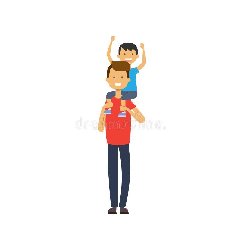 Vater hält seinen Sohn auf Rückseite über weißem Hintergrund, glückliches Familienkonzept, flacher Karikaturentwurf stock abbildung