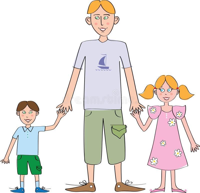 Vater mit Tochter und Sohn stock abbildung