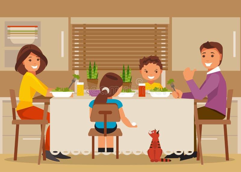 Vater, Mutter und Kinder, die eine große Pizza essen stock abbildung