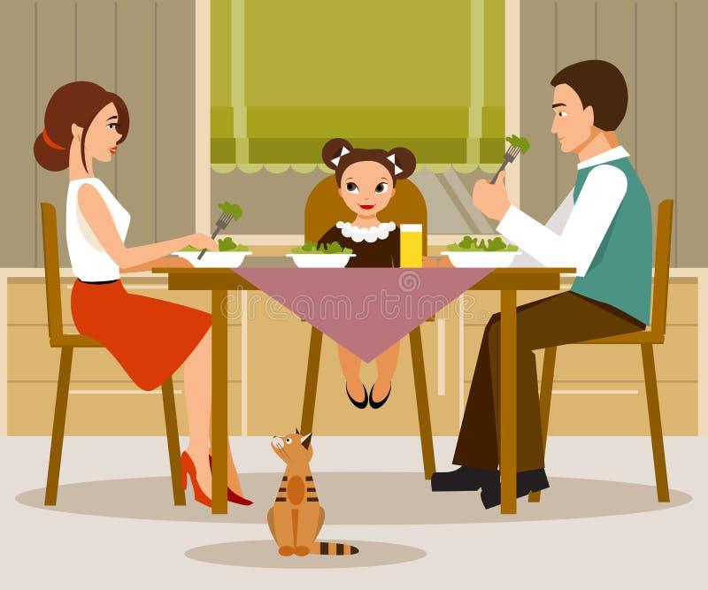 Vater, Mutter und Kinder, die eine große Pizza essen Vektorillustration, flache Art lizenzfreie abbildung