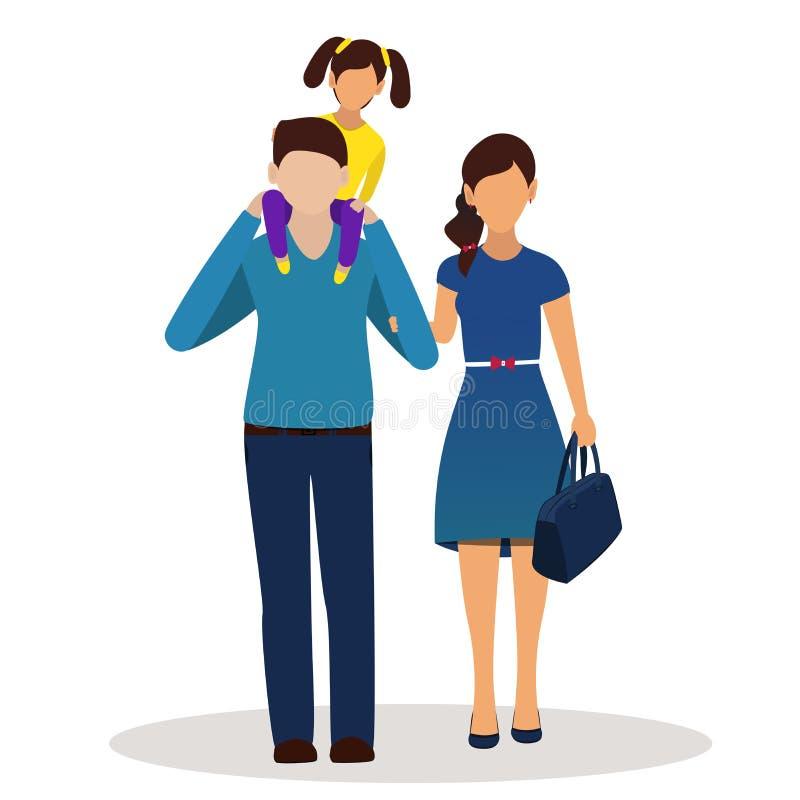 Vater, Mutter und Tochter zusammen auf weißem Hintergrund stock abbildung