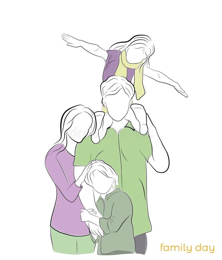 Vater, Mutter und zwei Kinder Eine glückliche Familie Familientag Auch im corel abgehobenen Betrag lizenzfreie abbildung