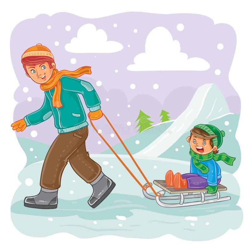 Vater rollt seinen Sohn auf einem Schlitten im Schnee stock abbildung