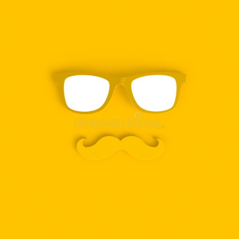 Vater ` s Tageskonzept Gelbe Sonnenbrille des Hippies und minimaler gelber Hintergrund der lustigen Schnurrbartzusammenfassung vektor abbildung