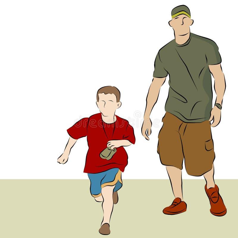 Vater-Sohn-Gehen lizenzfreie abbildung
