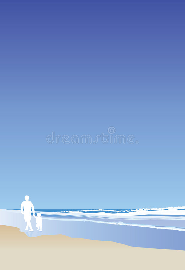 Vater und Kind auf Strandportrait vektor abbildung