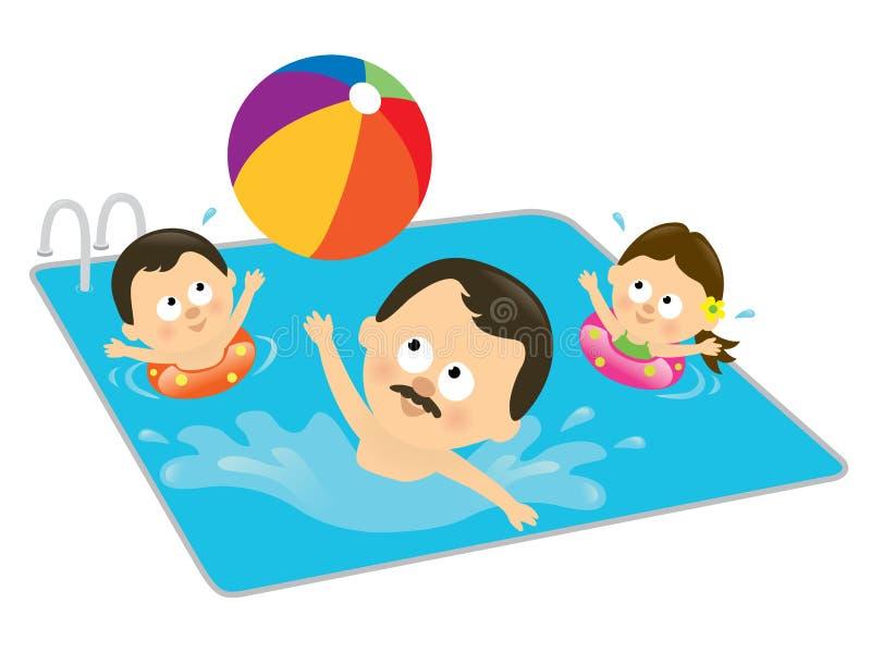 Vater und Kinder, die in einem Pool (Hispanic, spielen) lizenzfreie abbildung
