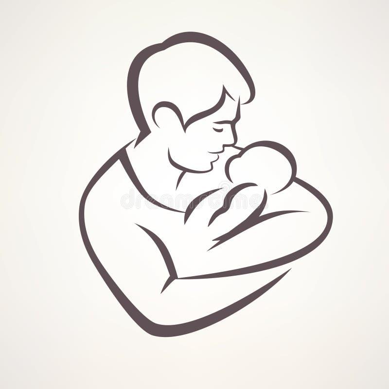 Vater und Schätzchen vektor abbildung