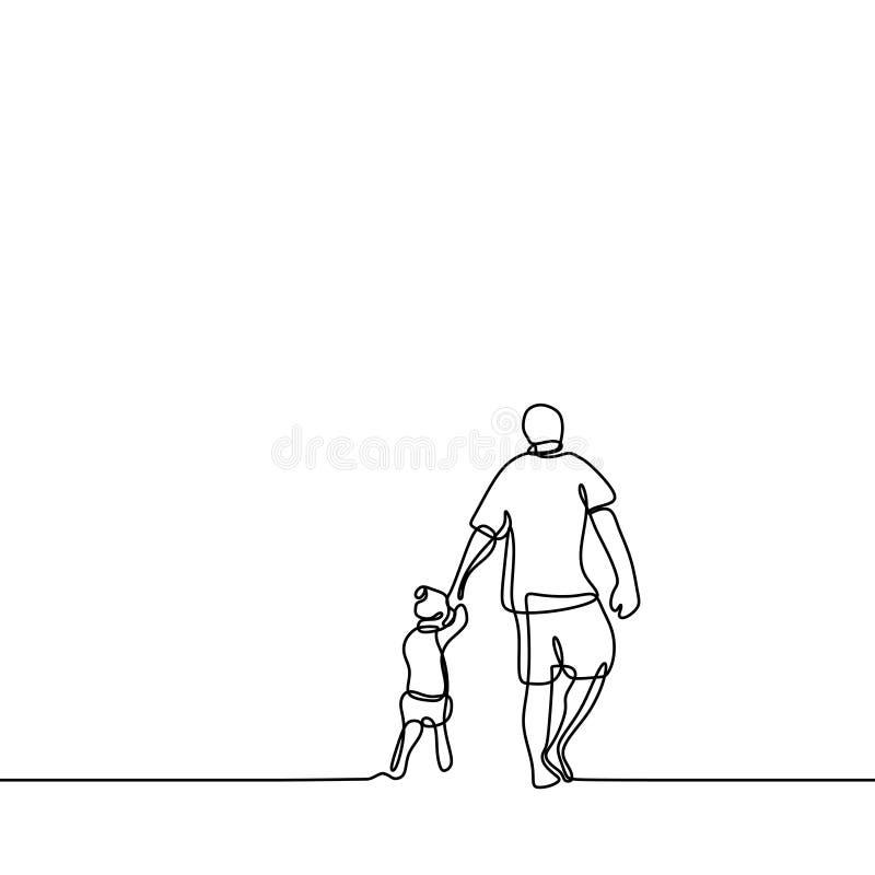 Vater und sein ununterbrochenes minimaler Entwurf der Tochter der Federzeichnungsvektorillustration stock abbildung