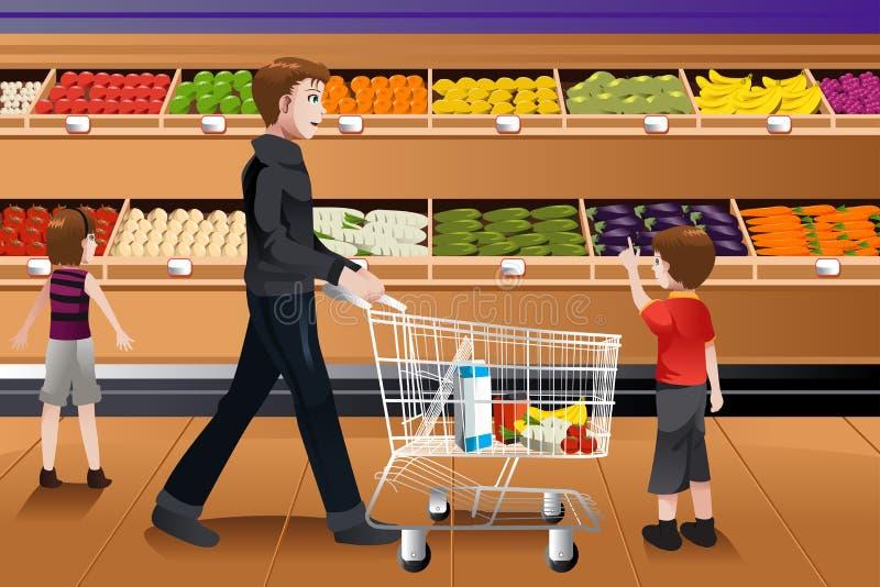 Vater und seine Kinder, die Einkauf tun lizenzfreie abbildung