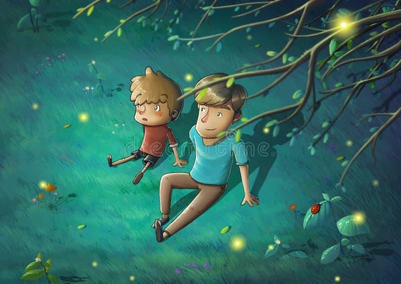 Vater und Sohn in der schönen Nacht Sit Down auf dem grünen Gras, das Geschichten erzählt vektor abbildung