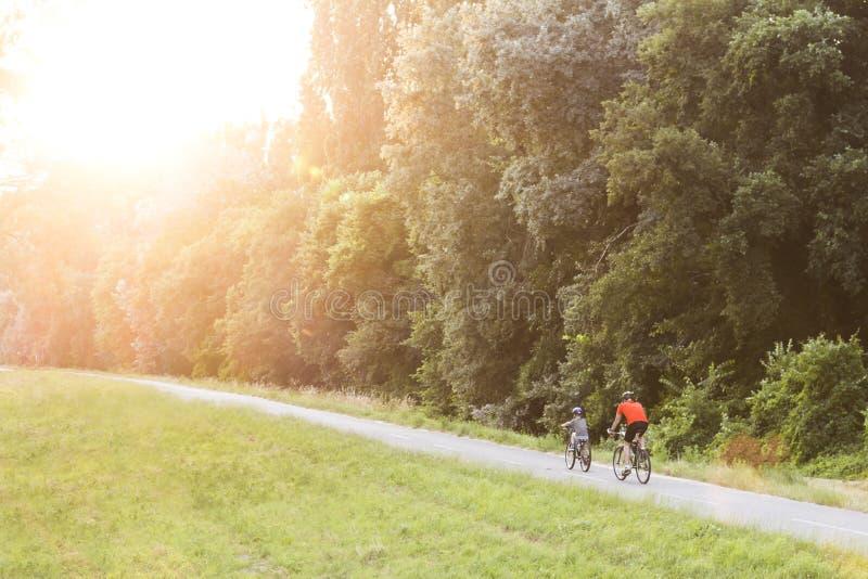 Vater und Sohn, die in einen Wald auf einem Weg im Sonnenuntergang mit schönem Beleuchtungsblendenfleck radfahren lizenzfreie stockbilder