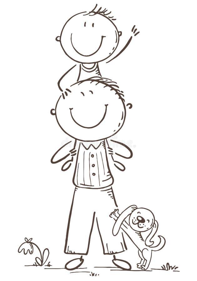 Vater und Sohn, die Spaß, Vektorillustration haben stock abbildung