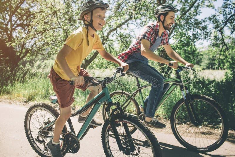 Vater und Sohn fahren auf Fahrräder Sie fahren auf eine kleine Straße Jedes von ihnen möchte erstes auf Ziellinie sein lizenzfreie stockfotografie