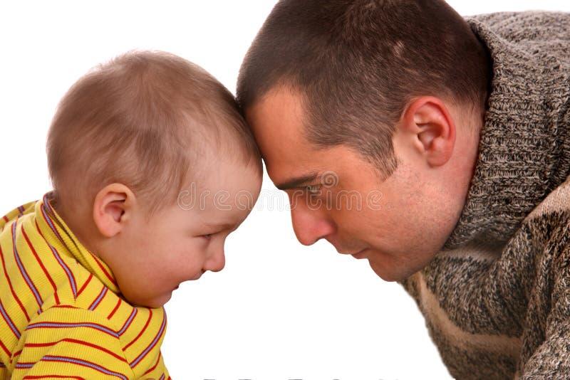 Vater und Sohn. Glückliche Familie. stockbild