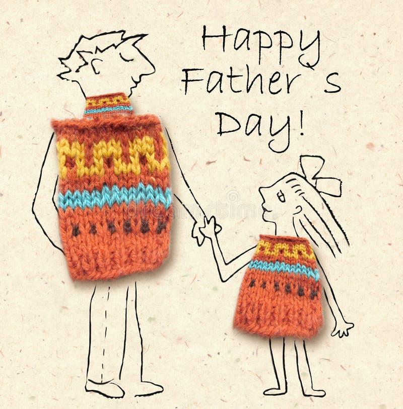 Vater und Tochter auf einem Weg, glücklich und miteinander lächelnd Der glückliche Vatertag, die Illustration mit Vati und die To stockfotos